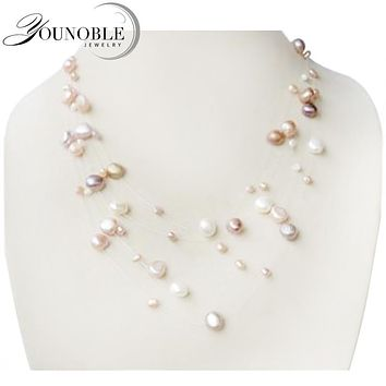 YouNoble Genuine natural pearl necklace,fashion multilayer necklace women wedding girl mother birthday best gift white multi