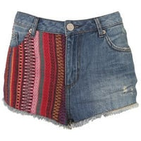 MOTO Tapestry Contrast Hotpants - Shorts  - Clothing