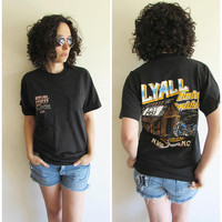 Vintage 80s Black Harley Davidson/ Real Men/ Lyall/ North Carolina T Shirt