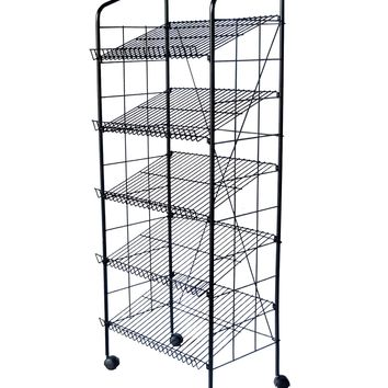 "24.0"" x 48.5"""" x 15.0"" 24""w Bakery Display Rack w/ Wheels, 5 Wire Gravity Shelves, Mild Steel - Black 19406"