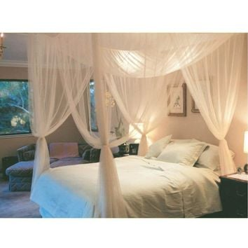White Three Door Princess Mosquito Net Double Bed Curtains Sleeping Curtain Bed Canopy Net Full Queen King Size Net
