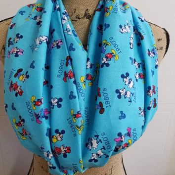 Mickey - mouse  - minnie - mouse - disney -vintage - retro - print - infinity  - scarf