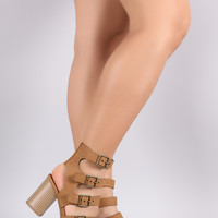 City Classified Buckled Strappy Gladiator Chunky Heel