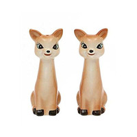 Cottage Christmas Ceramic Vintage Reproduction of Deer Salt & Pepper Shakers, Set of 2 - 4-in