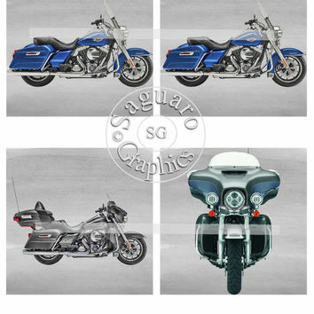 Harley Altered Art Glow Art Blue Road King & Black Ultra Classic - Coasters Artwork, 4.0 inch Squares, Arts and Craft Projects