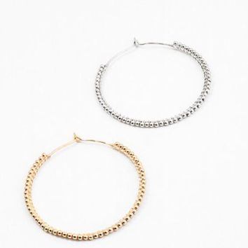 Ball Bead Hoop Earrings