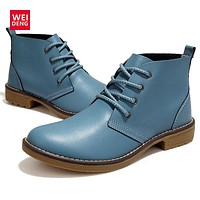 Women Fashion Lace up Genuine Leather Classic Shoe High Style Flat Brand Casual Shoes Boots