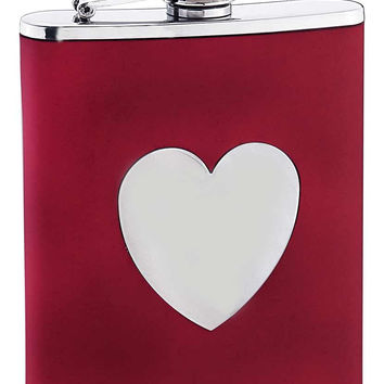 Visol True Love Red Leather Liquor Flask - 6 oz