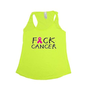 Women's F Cancer Breast Cancer Awareness Tri Blend Tank NEON YELLOW