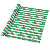 Personalized Wrapping Paper Basketball Green/White