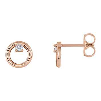 7.25mm 14k Rose Gold .06 CTW (G-H, I1) Diamond Circle Post Earrings
