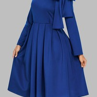 Blue Pleated Bow Long Sleeve Flare Out Formal Elegant Cocktail Party Midi Dress
