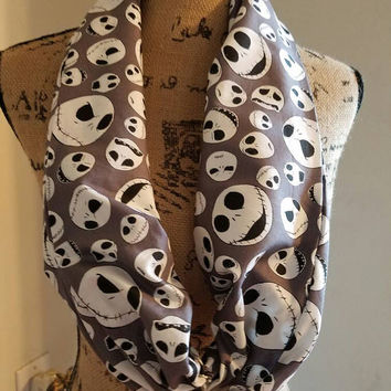 Nightmare  - before - Christmas  - jack - skellington  - sally - halloweentown  - disney - scrunchy - single - infinity  - scarf