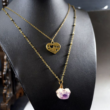 Long Chain Layered Amethyst Necklace -  Wrapped Rough Amethyst Necklace -Bronze Heart  - Love Necklace