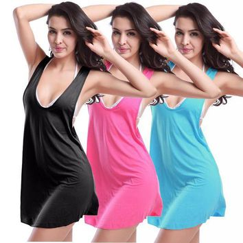 LONMF 11 colors Women Female Beach Vest Skirt Bikini Halter Tunics Dress Cover Up Wrap Swimsuit Swimming Suit Wear Beachwear Swimwear