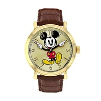 Disney Men's Mickey Mouse Leather Watch (Brown)