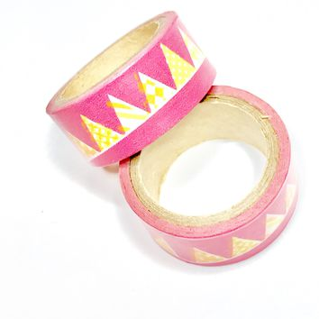 Hot pink bunting flags 15mm washi tape / 5M