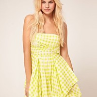 ASOS Bandeau Dress In Check With Bubble Hem at asos.com