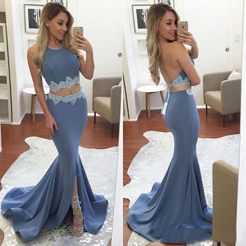 Two Piece Mermaid Floor Length  Prom Dresses Evening Dresses