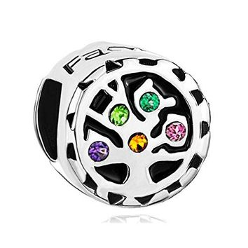 Charmed Craft 925 Sterling Silver Family Tree Of Life Charms Crystal Rhinestone Beads For Bracelets