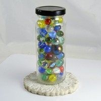 Jar of Glass Marbles - Cat Eyes - Clearies - Windowsill Decor - Vitro Akro Peltier