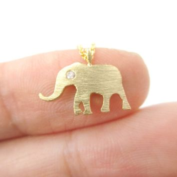 Classic Elephant Shaped Silhouette Pendant Necklace in Gold | Animal Jewelry