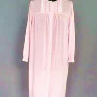 Vintage Retro 1950s 60s Pink Lace Teddy Semi Sheer Lingerie Robe Tulip Embroidered Nightgown Robe Medium Pin Up Girl Mad Men Mid Century