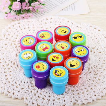 12 Pcs/Set Cartoon  Rubber Stamp Children Emoji Toy Stamper DIY Diary Decorative Painting Scrapbooking Drawing Gifs Toys for kid