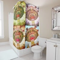 Trendy fun vintage retro carnival swing ride photo shower curtain