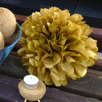 Set of 12 GOLD tissue paper pom poms/tissue poms/paper poms/paper flower/nursery poms/hanging poms/party pompoms-poms/pompoms/tissue pompoms