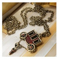 Restore Ancient Ways Style Carriage and Crystal Shoe Shape Decorated Long Pattern Necklace