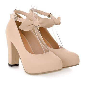 Sweet High Thick Heel Round Last Women Thin Shoes Buckle  beige