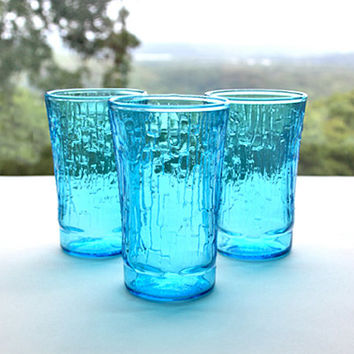 Anchor Hocking Laser Blue Pagoda 3.75 Inch Juice Glasses Set of Three