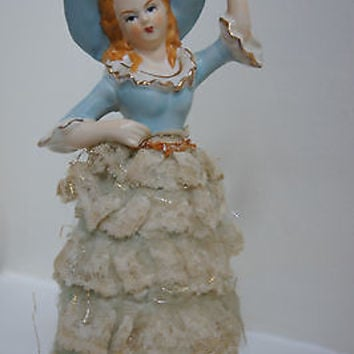 Vintage Ceramic Victorian Figurine Woman in Baby Blue Lace Occupied Japan