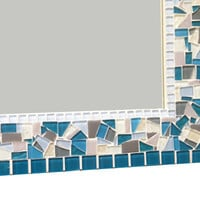 Teal Gray White Mosaic Wall Mirror // Large Decorative Mirror