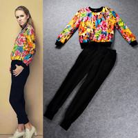 Yellow Floral  Cuff Long Sleeves Top  Pencil Cut Pants