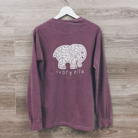 Fashion Women Popular Ivory Ella Cartoon Elephant Printed Floral Printed Long Sleeve Top T-Shirt