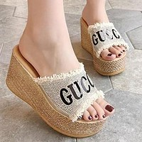 GUCCI Trending Women Casual Stylish Rhinestone Thick Soles High Heels Sandals Slippers Beige