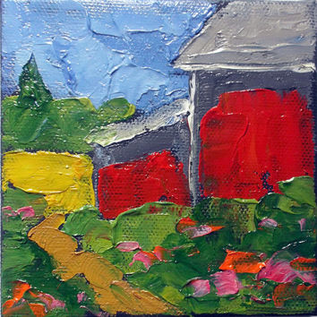 Miniature Impressionist Oil Painting 4x4 Plein Air California RED BARN Landscape Lynne French Art