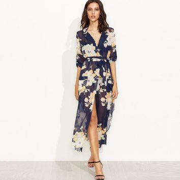 Chicloth Sexy V-neck Floral High Low Dress