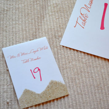 Sand place card pink orange seating card with sand Destination wedding placecard Foldover Beach Wedding place cards seating cards with SAND