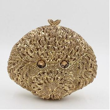 luxury gold diamond studded Puppy evening bag Clutch Wedding Bags Female Vintage Clutches Ladies Beaded Pearl Party Purse silver