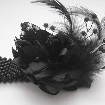 Wrist Corsage Unique Designer Corsage Licorice Black with Black Feathers and Black Pearl Trim Prom Homecoming Winter Formal Weddings