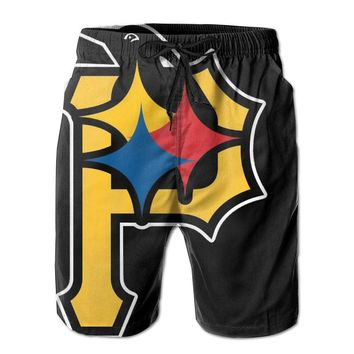 Pittsburgh Steelers Penguins Pirates Combine Logo Mens Fashion Casual Beach Shorts