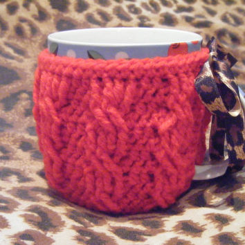 Hand crocheted cabled red mug cozy with by LottiesCreations