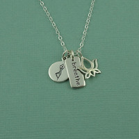 Breathe Charm Necklace - sterling silver lotus flower yoga pose jewelry, best friend gift