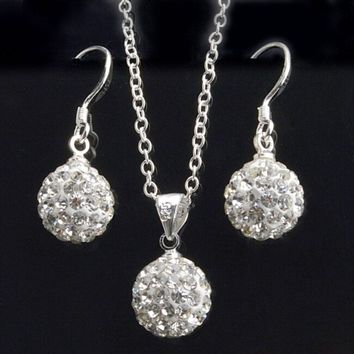 New chic Jewelry set womens fashion white crystal ball drop earrings necklace pendant set for women
