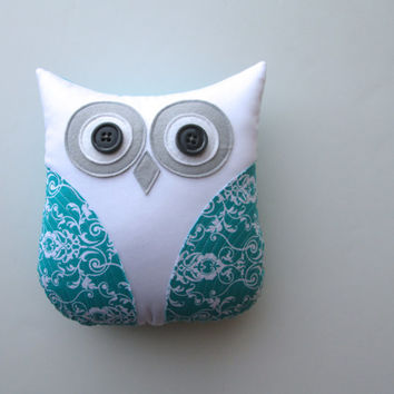 dorm decor, decorative pillow, owl pillow, teal, turquoise blue and white nursery decor by whimsysweetwhimsy