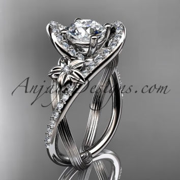 platinum leaf and flower diamond unique engagement ring, wedding ring ADLR369