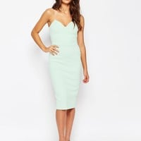 ASOS Deep Plunge Scuba Midi Bodycon Dress at asos.com